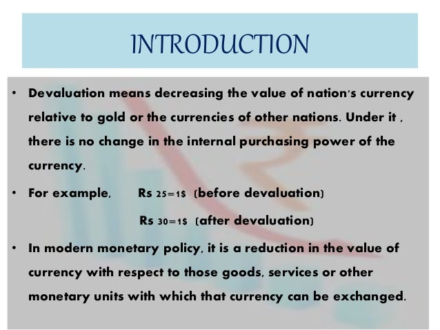 what does devaluing currency mean