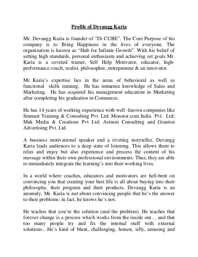 """Profile of Devangg Karia Mr. Devangg Karia is founder of """"Di CUBE"""". The Core Purpose of his company is to Bring Happiness ..."""