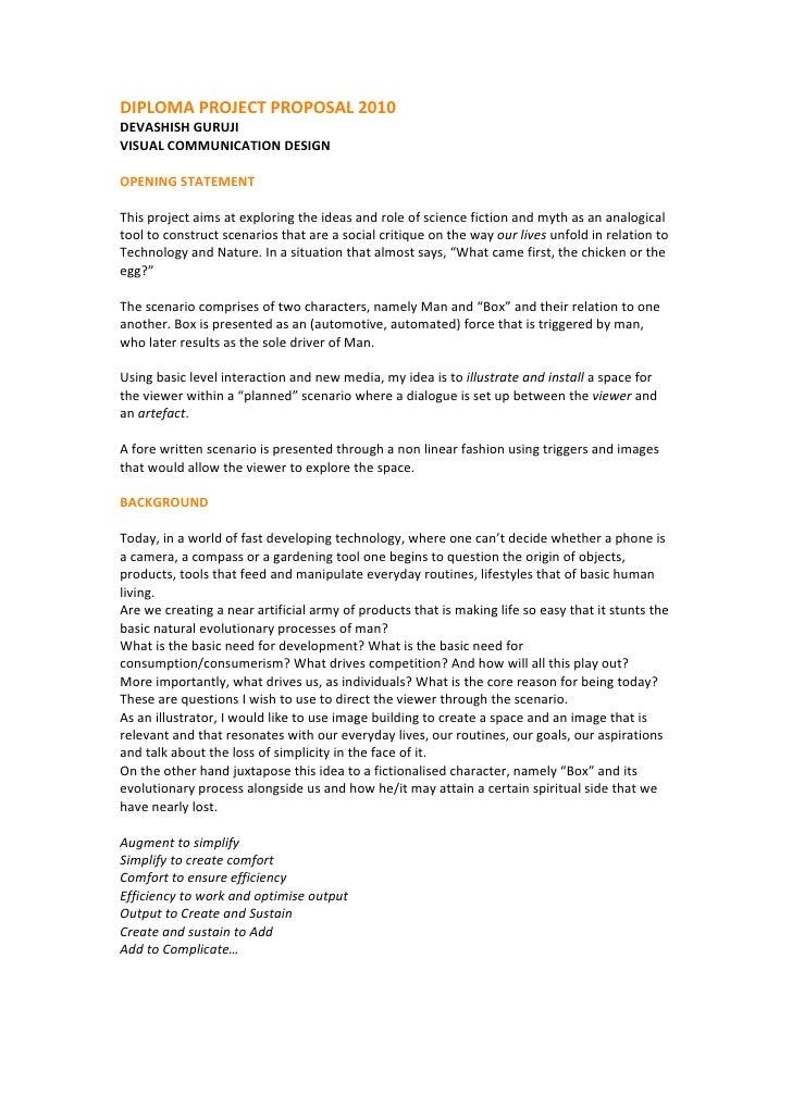 DIPLOMAPROJECTPROPOSAL2010 DEVASHISHGURUJI VISUALCOMMUNICATIONDESIGN  OPENINGSTATEMENT  Thisprojectaimsat...