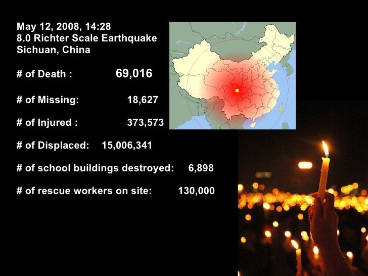 May 12, 2008, 14:28 8.0 Richter Scale Earthquake Sichuan, China # of Death :    69,016 # of Missing: 18,627 # of Injured :...