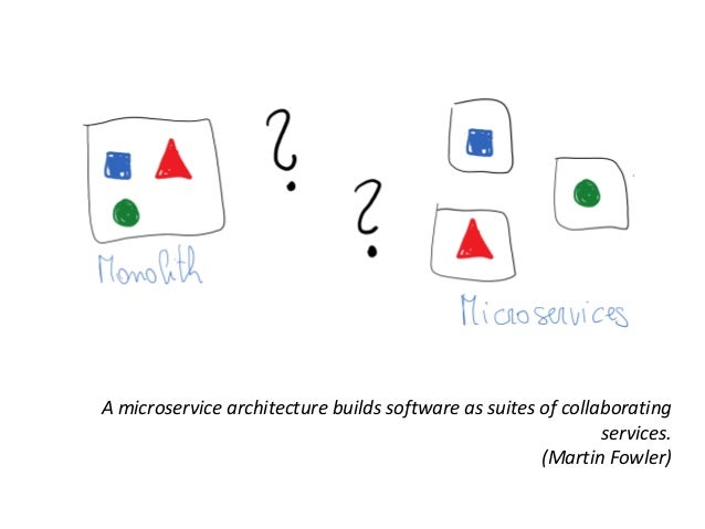 A microservice architecture builds software as suites of collaborating services. (Martin Fowler)