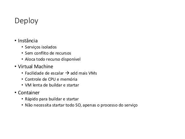 Deploy • Instância • Serviços isolados • Sem conflito de recursos • Aloca todo recurso disponível • Virtual Machine • Faci...