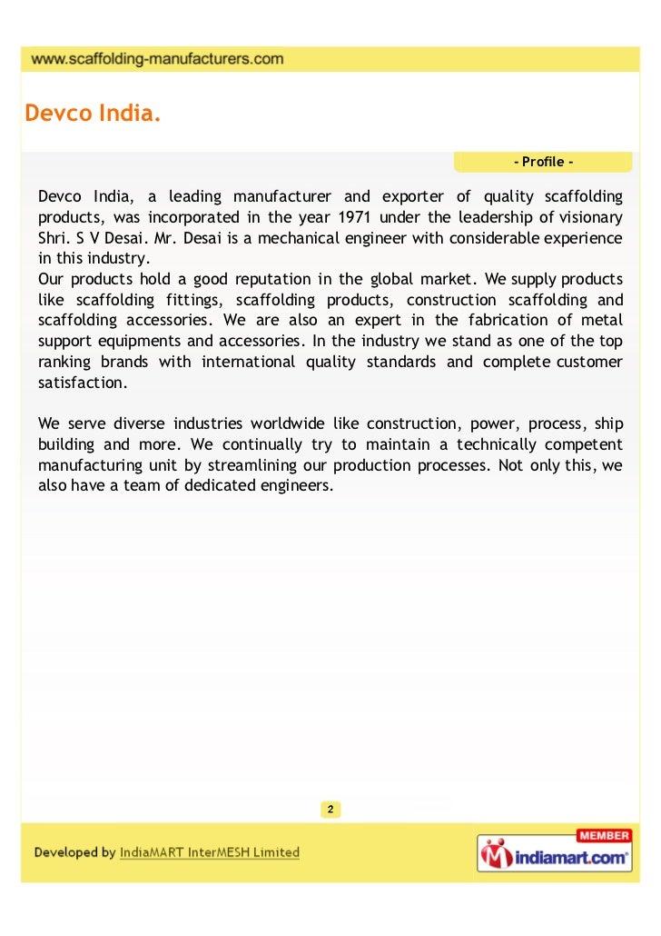 Devco India.                                                                  - Profile - Devco India, a leading manufactu...