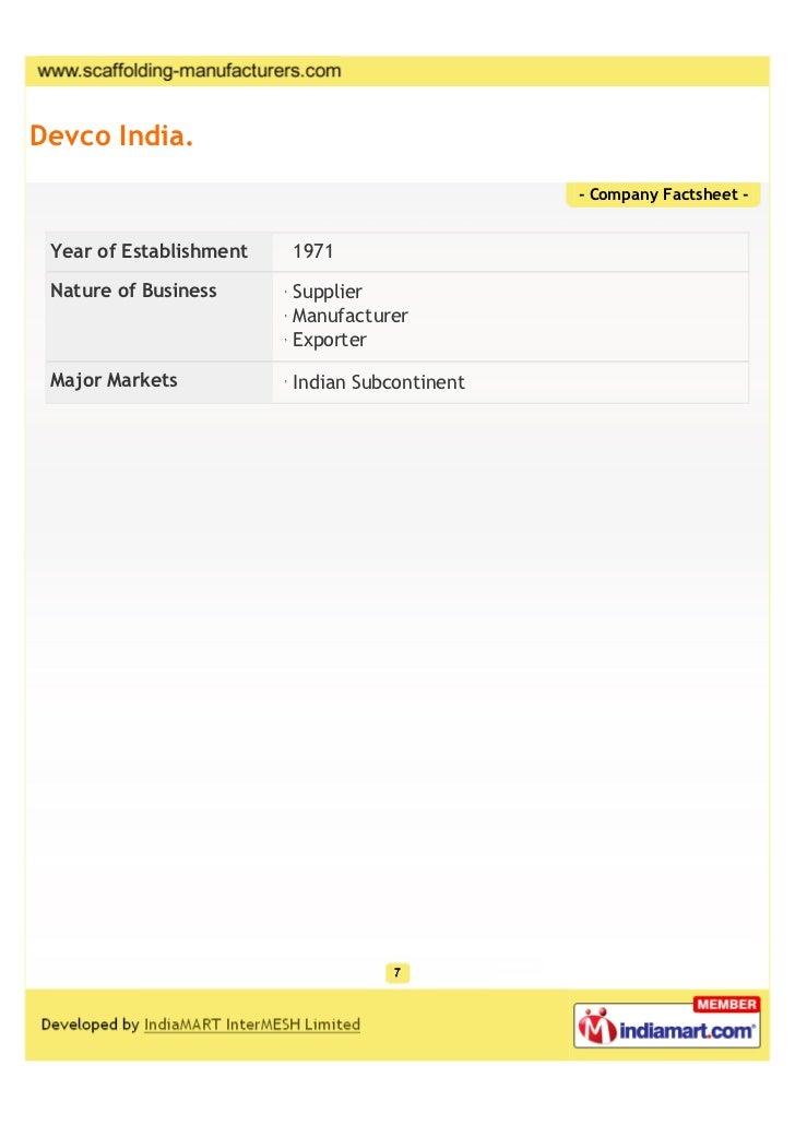 Devco India.                                               - Company Factsheet - Year of Establishment   1971 Nature of Bu...