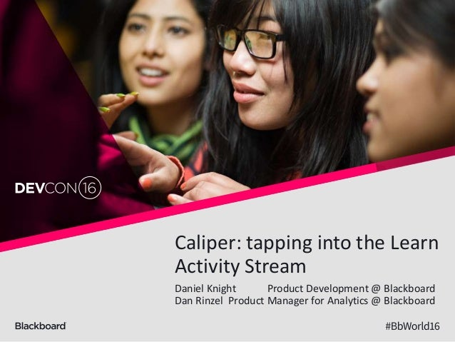 Caliper: tapping into the Learn Activity Stream Daniel Knight Product Development @ Blackboard Dan Rinzel Product Manager ...