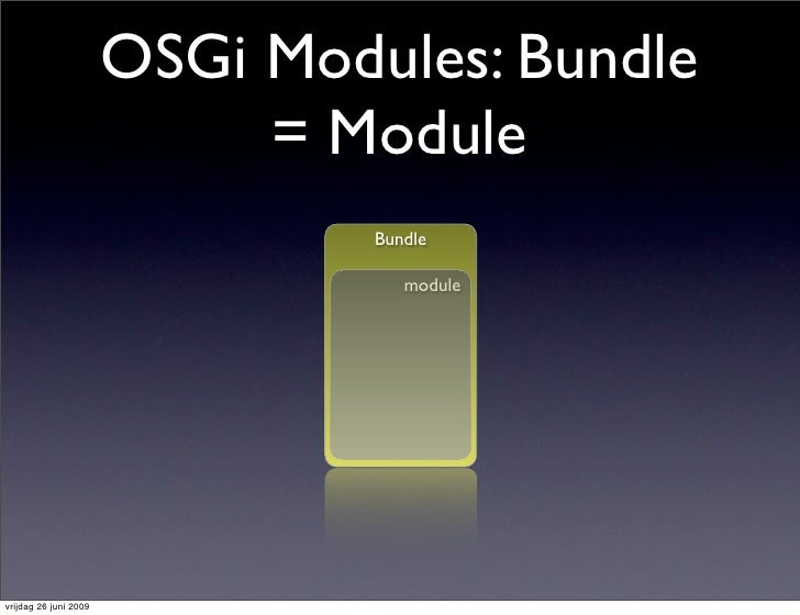 OSGi Modules: Bundle                             = Module                                 Bundle                          ...
