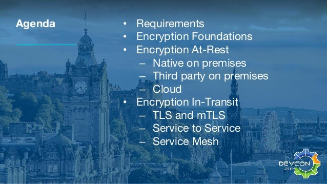 Agenda • Requirements • Encryption Foundations • Encryption At-Rest – Native on premises – Third party on premises – Cloud...