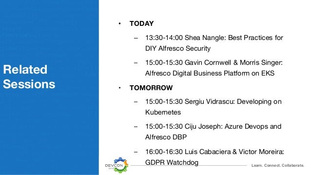 Learn. Connect. Collaborate. Related Sessions • TODAY – 13:30-14:00 Shea Nangle: Best Practices for DIY Alfresco Security ...