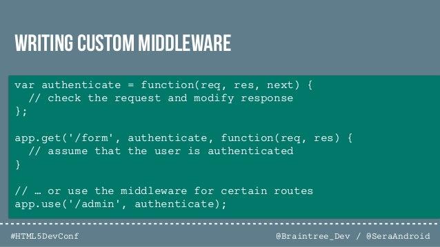 @Braintree_Dev / @SeraAndroid#HTML5DevConf // Simple authentication app.post('/login', passport.authenticate('local'), fun...