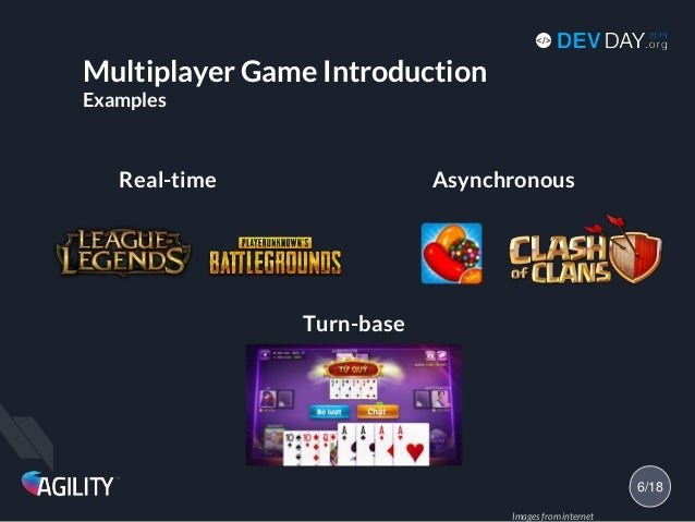 Multiplayer Game Introduction Examples Real-time Asynchronous 6/18 Turn-base Images from internet