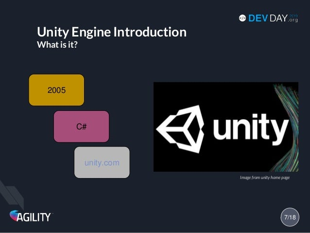Unity Engine Introduction What is it? 2005 unity.com C# 7/18 Image from unity home page