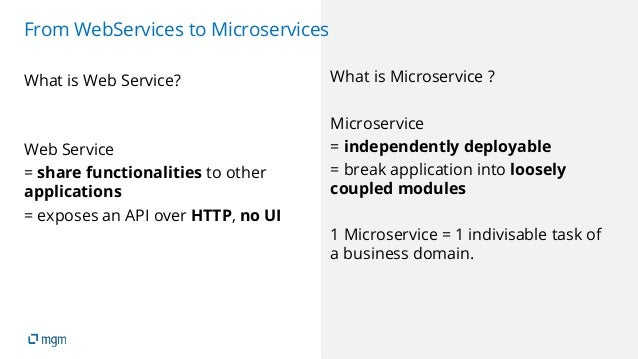 13 From WebServices to Microservices What is Web Service? Web Service = share functionalities to other applications = expo...