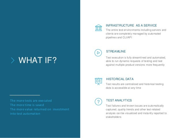 WHAT IF? The entire test environments including servers and clients are completely managed by automated pipelines and CLI/...