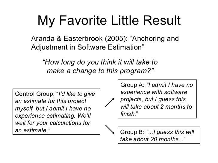 """My Favorite Little Result Aranda & Easterbrook (2005): """"Anchoring and Adjustment in Software Estimation"""" """" How long do you..."""