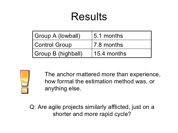 Results The anchor mattered more than experience, how formal the estimation method was, or anything else. Q: Are agile pro...