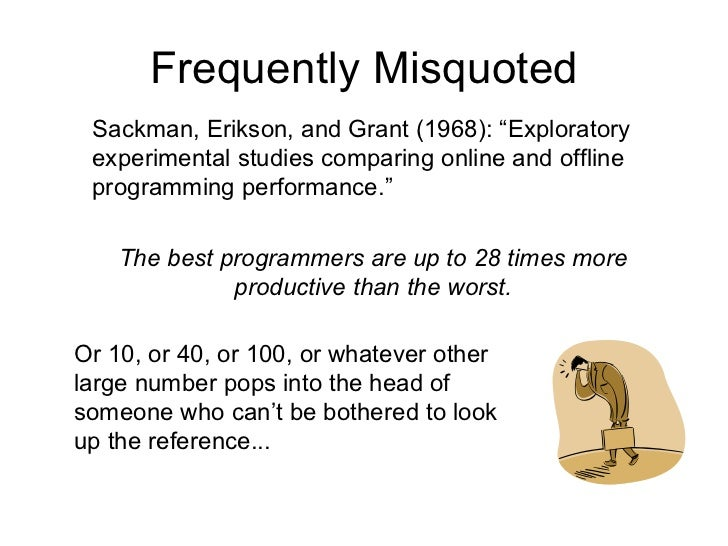 """Most Frequently Misquoted Sackman, Erikson, and Grant (1968): """"Exploratory experimental studies comparing online and offli..."""