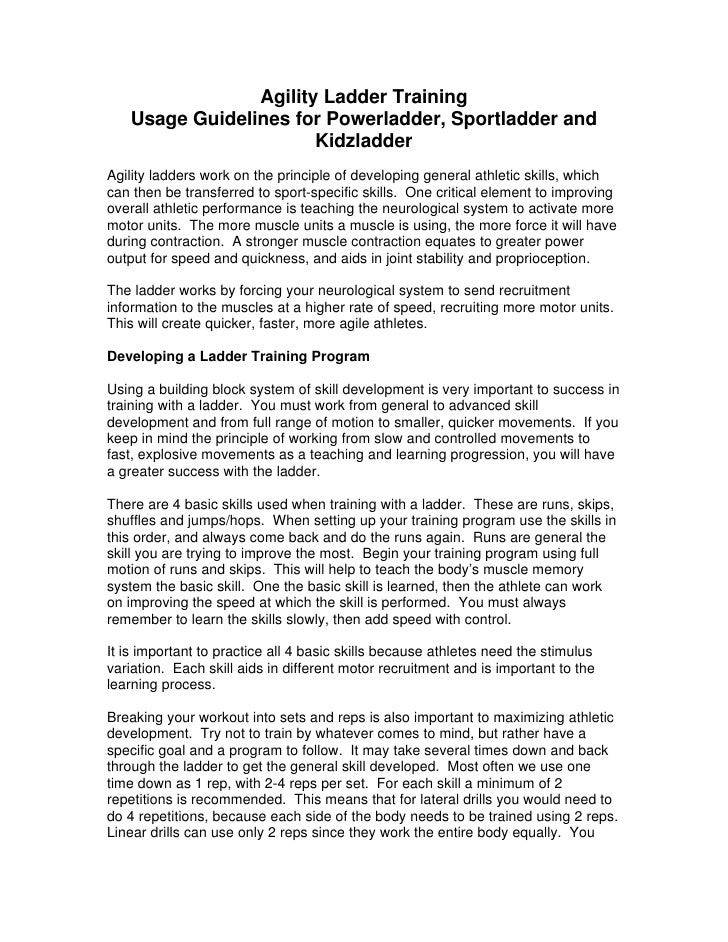 Agility Ladder Training    Usage Guidelines for Powerladder, Sportladder and                        Kidzladder Agility lad...