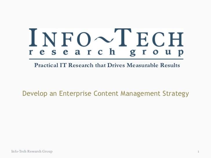 Develop an Enterprise Content Management Strategy Info-Tech Research Group