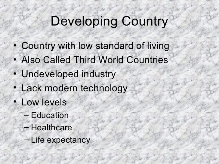 developed vs developing countries developing country