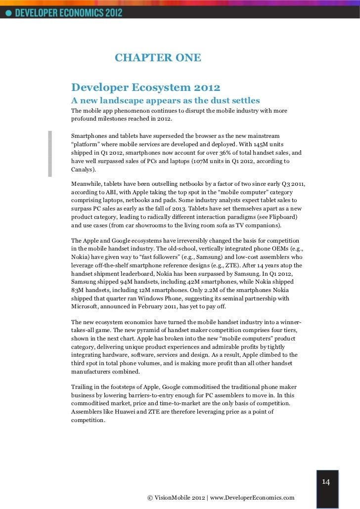 CHAPTER ONEDeveloper Ecosystem 2012A new landscape appears as the dust settlesThe mobile app phenomenon continues to disru...