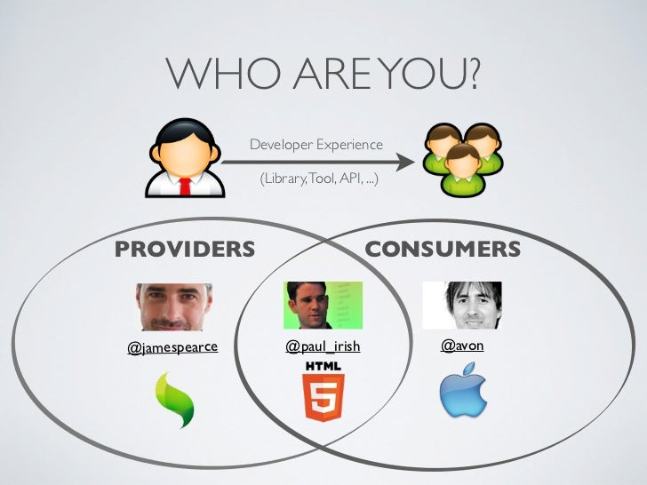 WHO ARE YOU?               Developer Experience                (Library, Tool, API, ...)PROVIDERS                         ...