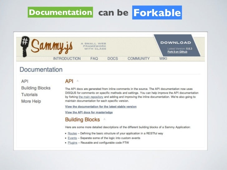 Documentation can be   Forkable