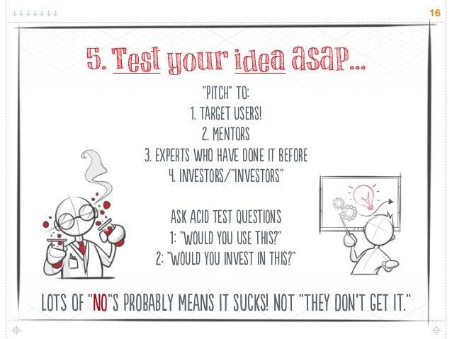 """16       5. Test your idea ASAP...                                """"C"""" T:                            1. TaG UsR! ..."""