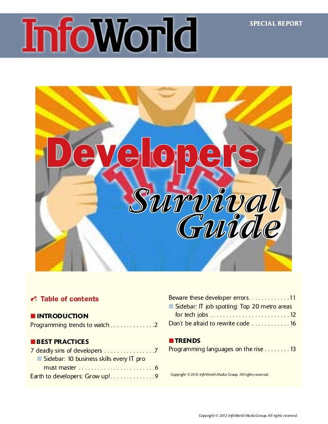 SPECIAL REPORT  Developers Survival Guide i Table of contents ፛፛ INTRODUCTION Programming trends to watch.  .  .  .  .  . ...