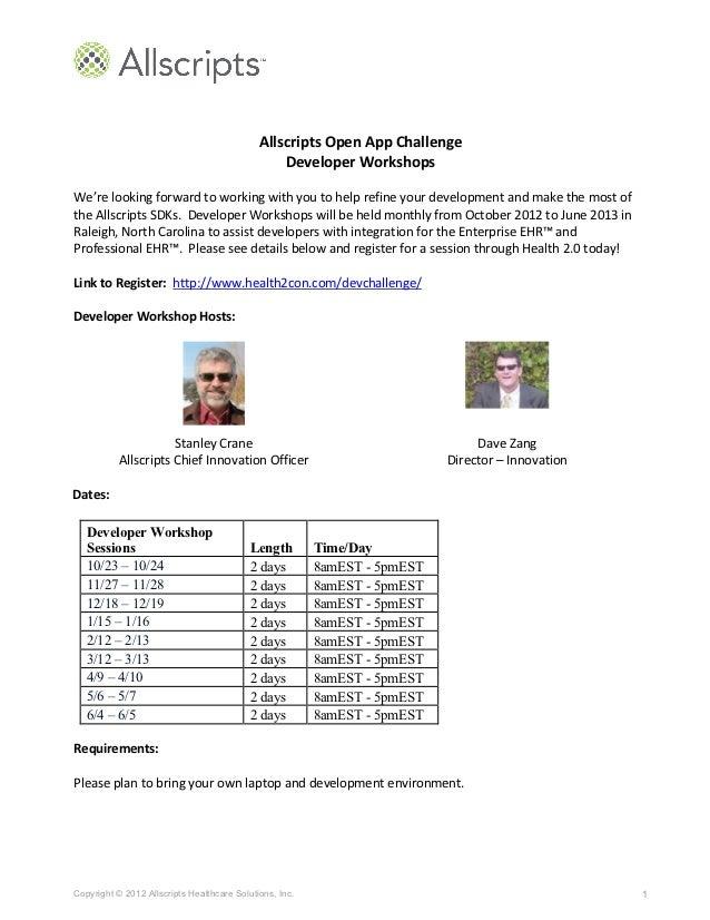 Allscripts Open App Challenge                                                            Developer Workshops  ...