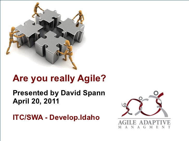 Are you really Agile? Presented by David Spann  April 20, 2011 ITC/SWA - Develop.Idaho