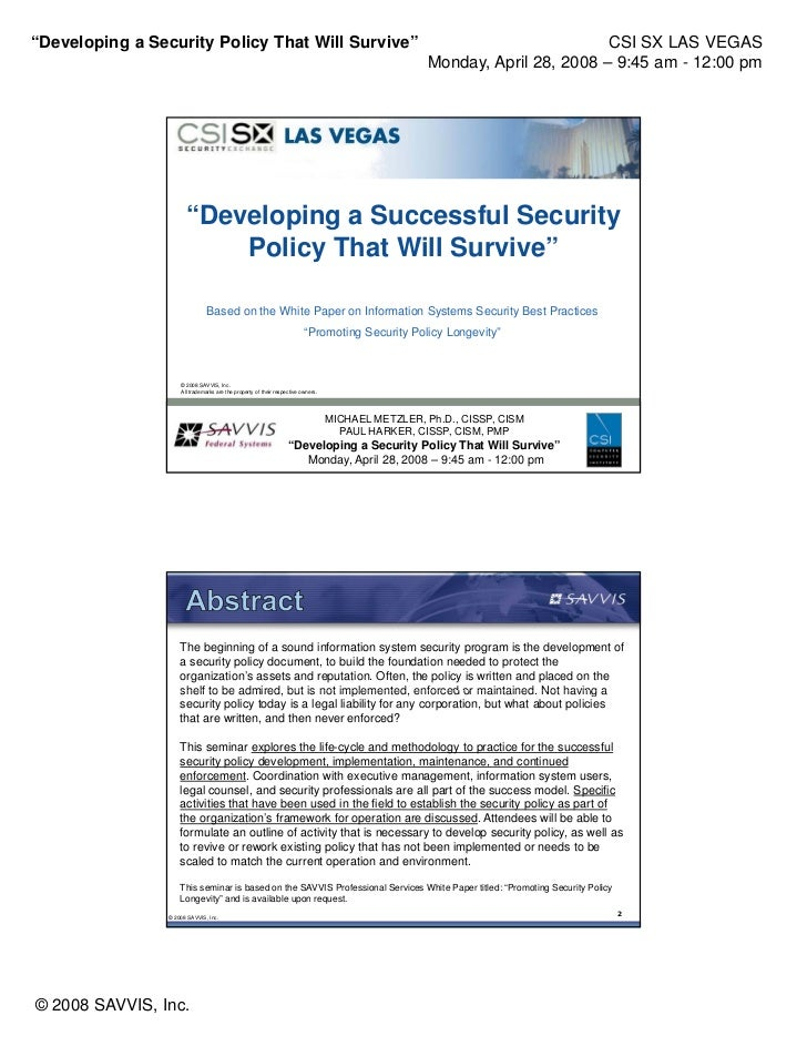 """""""Developing a Security Policy That Will Survive""""                                                                          ..."""