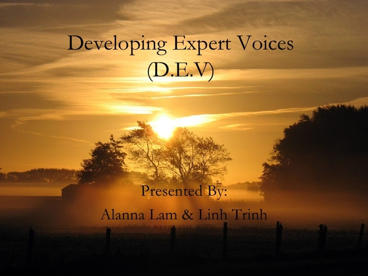 Developing Expert Voices (D.E.V) Presented By: Alanna Lam & Linh Trinh