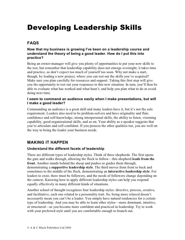Developing Leadership Skills  FAQS Now that my business is growing I've been on a leadership course and understand the the...
