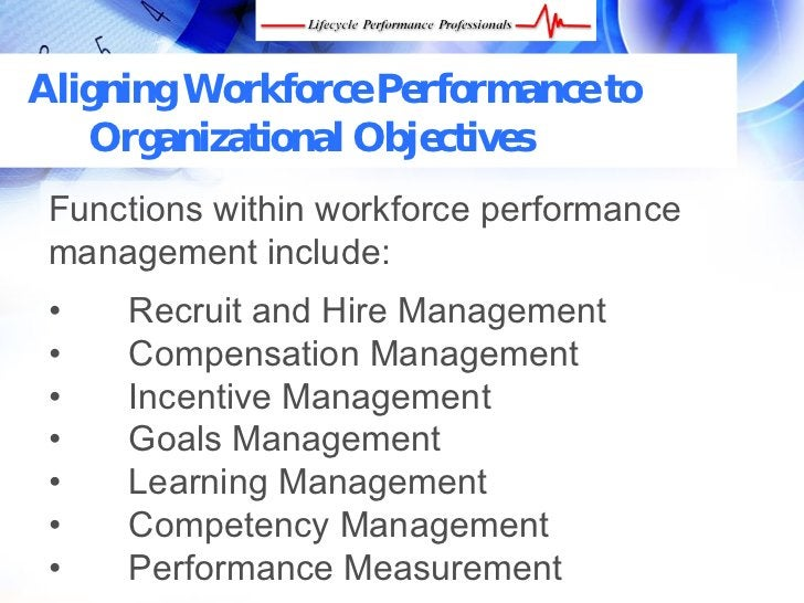 Aligning Workforce Performance to    Organizational Objectives  Functions within workforce performance  management include...