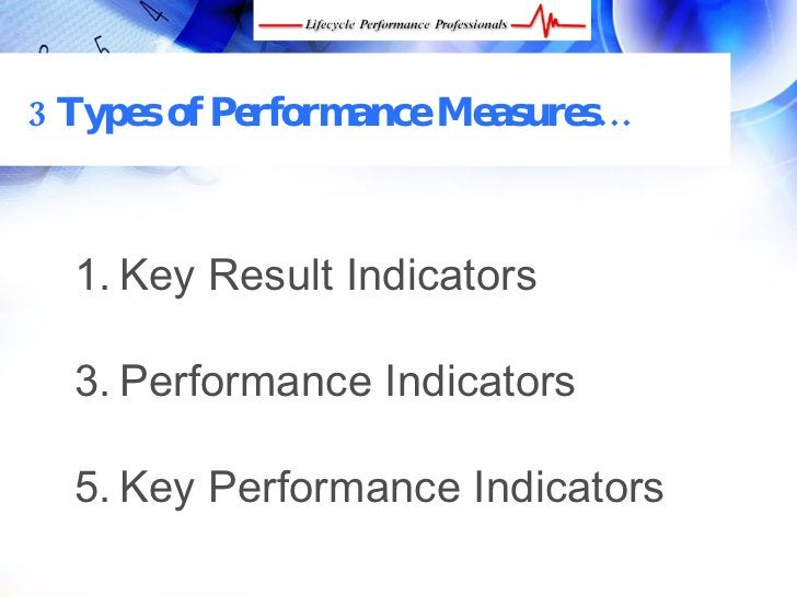 3 Types of Performance Measures…      1. Key Result Indicators    3. Performance Indicators    5. Key Performance Indicato...