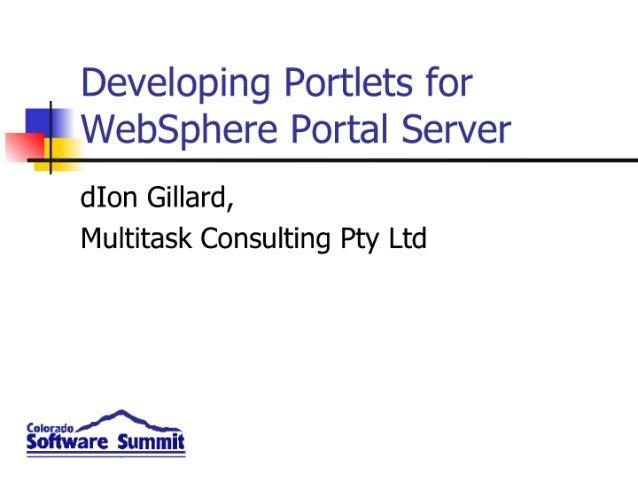 Developing  Portlets For  Web Sphere  Portal  Server