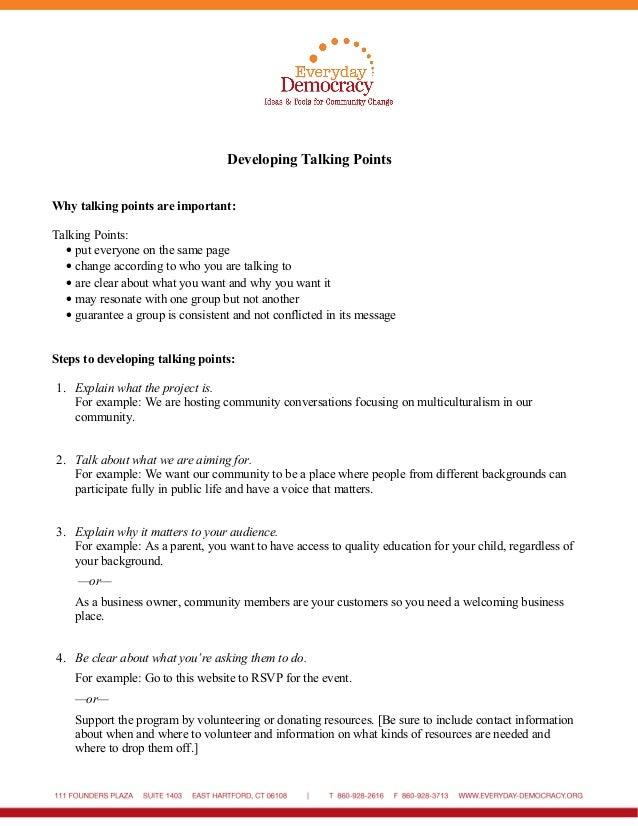 Developing Talking Points Handout