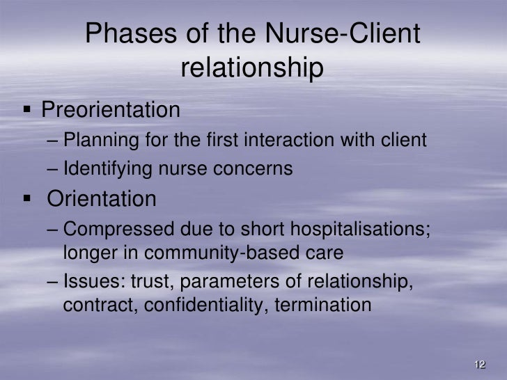 comminication nurse client relationship As a nurse or midwife, you owe a duty of confidentiality to all those who are receiving care this includes making sure that they are informed about.