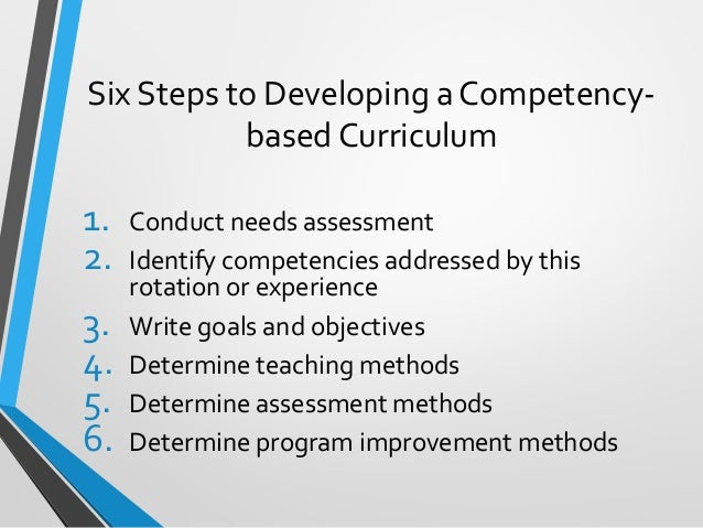 developing a competency based curriculum