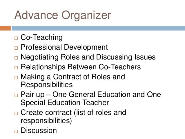 Advance Organizer  Co-Teaching  Professional Development  Negotiating Roles and Discussing Issues  Relationships Betwe...
