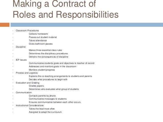 developing a contract of roles and responsibllities for co