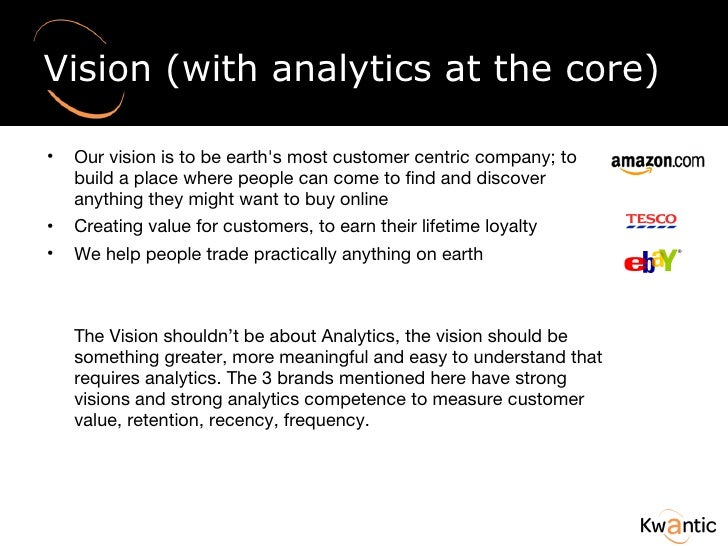 Vision (with analytics at the core) <ul><li>Our vision is to be earth's most customer centric company; to build a place wh...