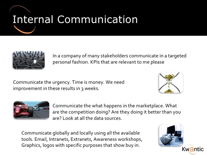 Internal Communication In a company of many stakeholders communicate in a targeted personal fashion.  KPIs that are releva...