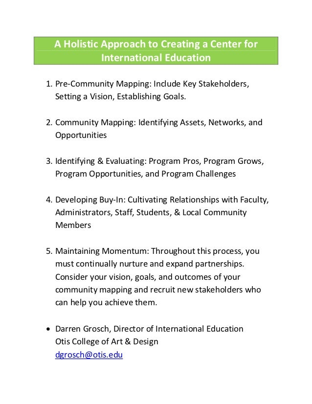 A Holistic Approach to Creating a Center for             International Education1. Pre-Community Mapping: Include Key Stak...