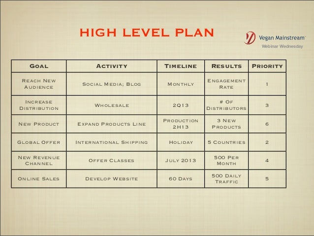 example of a high level business plan