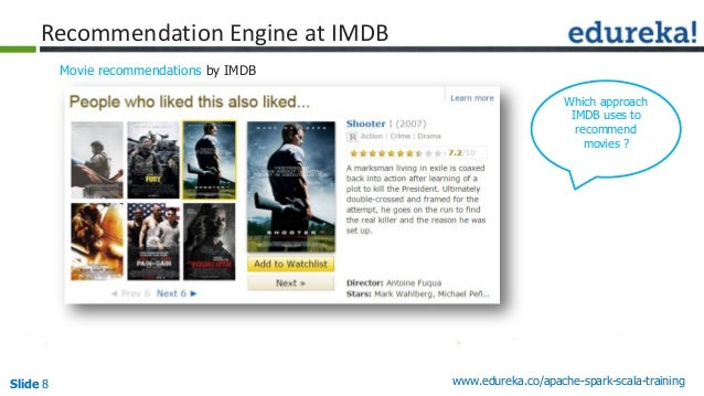 Slide 8 www.edureka.co/apache-spark-scala-training Recommendation Engine at IMDB Movie recommendations by IMDB Which appro...