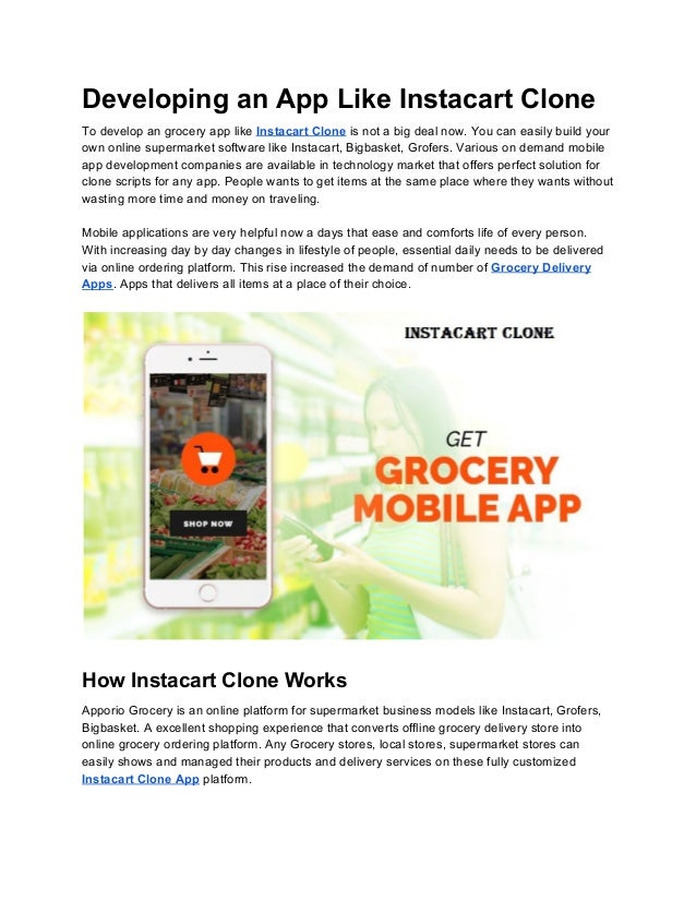 Developing an app like instacart clone