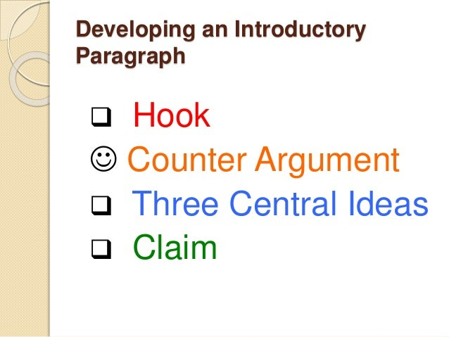 developing an argumentative essay introduction developing an introductory paragraph  hook  counter argument  three central ideas  claim