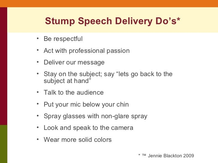 How to Write a Stump Speech