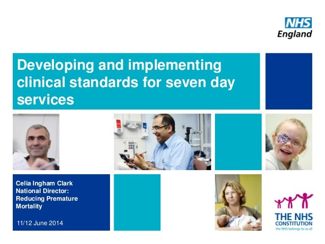 Developing and implementing clinical standards for seven day services Celia Ingham Clark National Director: Reducing Prema...